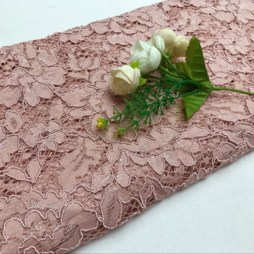 "Lace Fabric Eyelash Embroidery Flower Wedding Party Dress 59/"" Width By Metre"