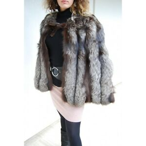 manteau cape fourrure renard argent taille 42 44 ebay. Black Bedroom Furniture Sets. Home Design Ideas