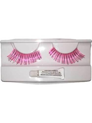 Pink False Eyelashes Womens Fancy Dress Girly Glamour Fashion Accent Ladies