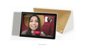"""White Front//Bamboo Back Lenovo 10/"""" Smart Display with Google Home Assistant"""
