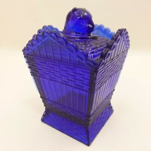 COBALT-BLUE-GLASS-Cat-On-A-Hamper-Basket-SUMMIT-Greentown-Covered-Candy-Dish