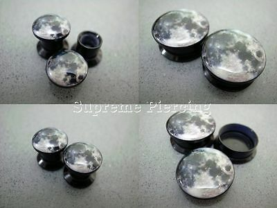 Multiple Size Planets Full Moon Galaxy Space Acrylic Flesh Tunnels Ear Plugs