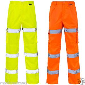 Hi-Viz-Vis-3-Banda-Pantalones-De-Combate-Seguridad-Ropa-De-Trabajo-Pantalon-Cargo-Inferior-Algodon