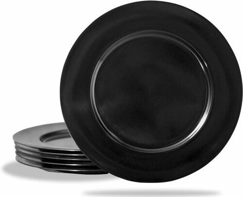 Set of 6 Black Calypso Basics by Reston Lloyd Melamine Dinner Plate