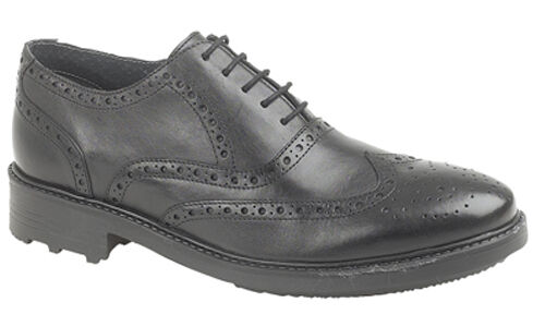 Mens Leather Brogues shoes Formal Black Lace Up Size UK 6 - 12
