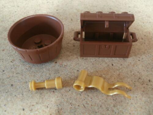 Pearl Gold Flag Telescope NEW Lego Pirate Reddish Brown Treasure Chest Barrel