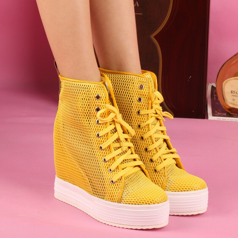 Womens High Hidden Wedge Heels Mesh Breathable Lace Hollow shoes 8 colors Bt15