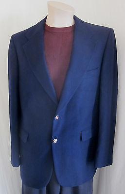 Amichevole Lebow Uomo Vintage Blu Navy 100% Cashmere Sport Cappotto Giacca Blazer 41 Lungo Forma Elegante