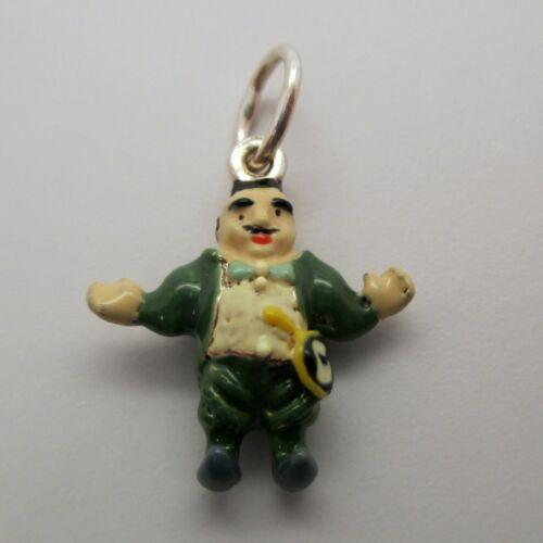 VINTAGE Sterling Silver ENAMEL 3D Charm MUNCHKIN MAYOR Wizard of Oz PENDANT Fun!