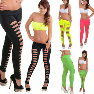 d9cf7d845eed5d Purcii Women's Sexy Candy Color Ripped Stretch Cut Out Slim Hole ...