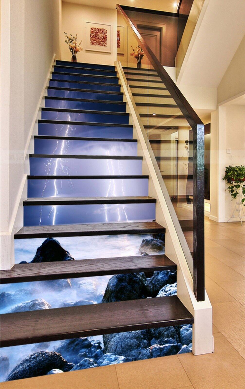 3D Lightning cloud Stair Risers Decoration Photo Mural Vinyl Decal WandPapier AU