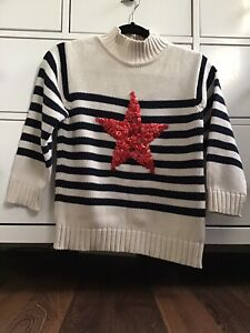 Girls-Jumper-Monsoon-6-8-Age-Stipe-Button-Red-Star-Cotton-Chunky-Knit-Very-Cute