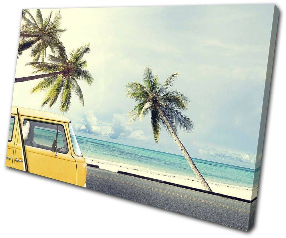 Camper Van Surfing Gift Sunset Seascape SINGLE Leinwand Kunst Bild drucken