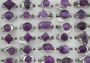 Jewelry-Lots-20pcs-Nature-amethyst-stone-Silver-P-Women-Charm-Fashion-Rings