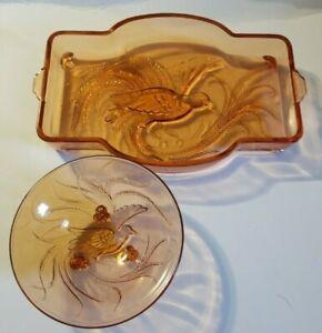 Indiana-Glass-Bird-of-Paradise-Tiara-Pink-Depression-Glass-Vanity-Tray-amp-Bowl