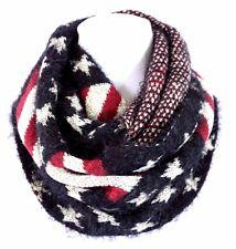 B28 Faux Fur Long Hair Flag Stars & Stripes Reversible Soft Infinity Scarf