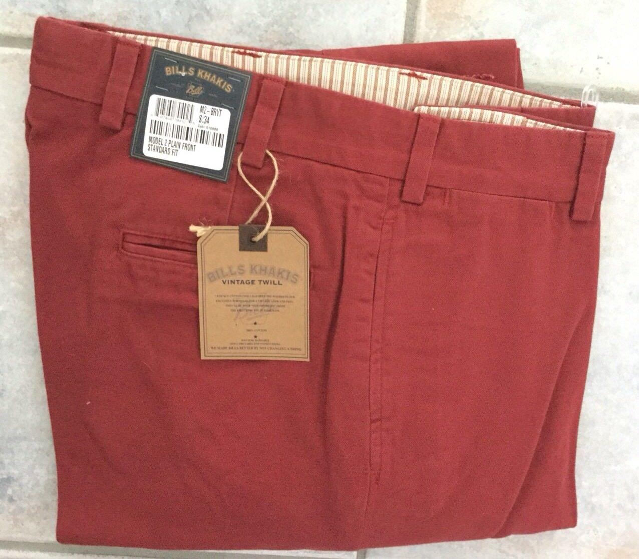 BRAND NEW  Bills khakis M2-BRVT Men's Size 35 Burnt Red Vintage Twill MSRP