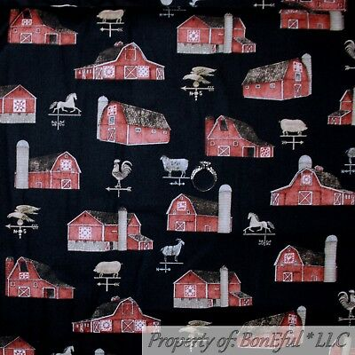 BonEful Fabric FQ Cotton Quilt Scenic Country Farm Tractor Horse Cow Barn Truck