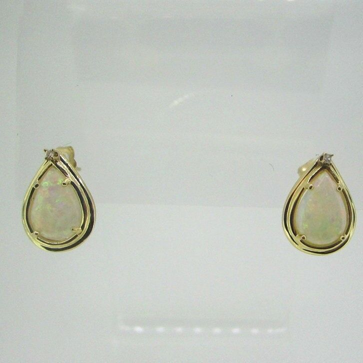 14k Yellow gold Natural Opal Pear Cut with Diamond Stud Earrings