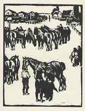 PFERDEMARKT - WALTHER KLEMM  OriginalHolzschnitt  1930 (BERLINER SEZESSION)