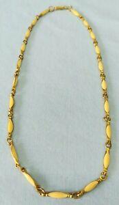 Vintage Cream Enameled Link Choker Necklace Gold Tone 16 Inch