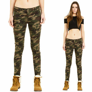 Womens-Low-Rise-Slim-Skinny-Stretch-Dark-Green-Camouflage-Trousers-Pants-Jeans