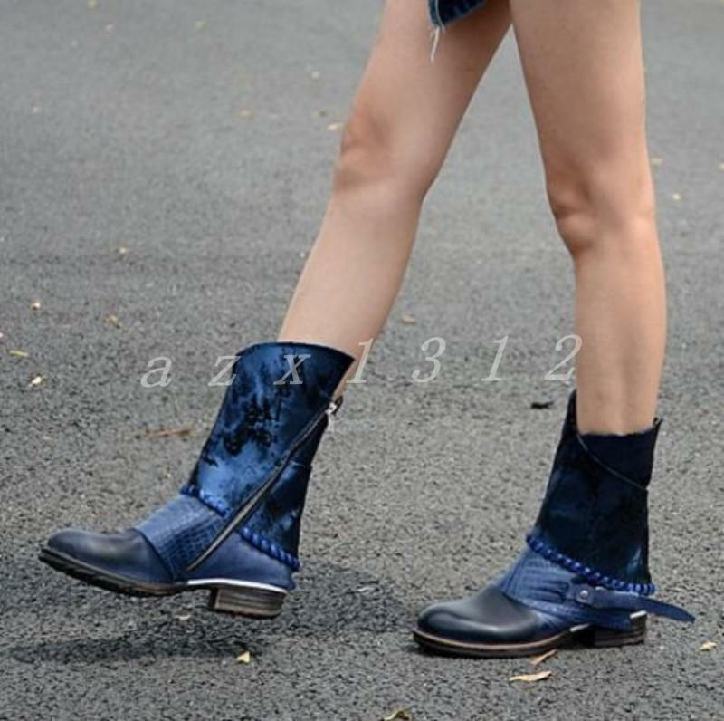 Ladies Womens Buckle Zip Zip Zip Vintage Western Cowboy Ankle Leather Boots Riding shoes 368133