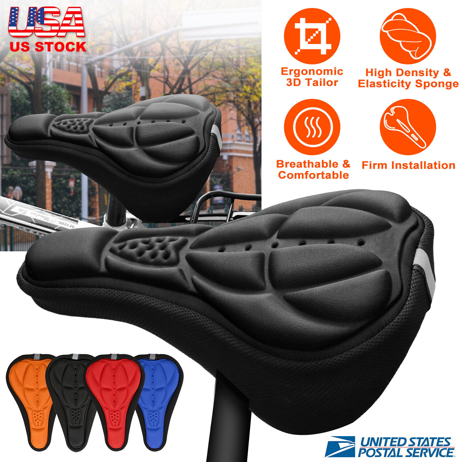 3D Soft Cycling Bicycle Bike Saddle Seat Cover Sponge Outdoor Breathable Cushion