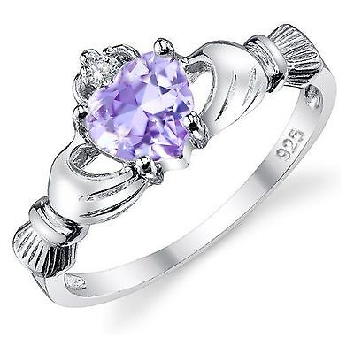 Sterling Silver 0.765ct Heart-cut Purple Amethyst Ice CZ Claddagh Ring Delaney