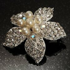 Crystal Flower Brooch Hijab Pin Bridal Silver Imitation Pearl Jacket Jewelry UK