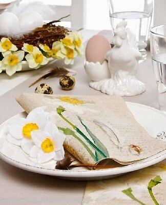 IHR Lunch Servietten Narcisse Hase Natur Ostern Frühling Blume Fest Feier Napkin