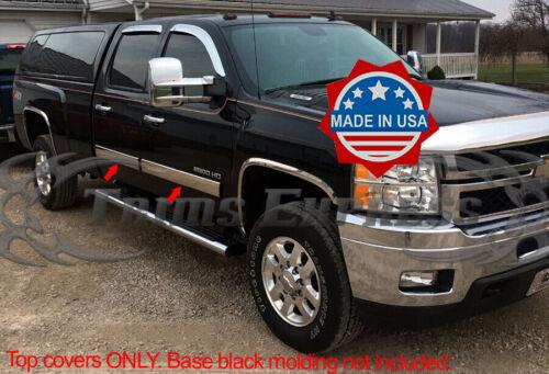 """2009-2013 Chevy Silverado Crew Cab Chrome Body Side Molding Overlay 4 1//4/""""Trim"""