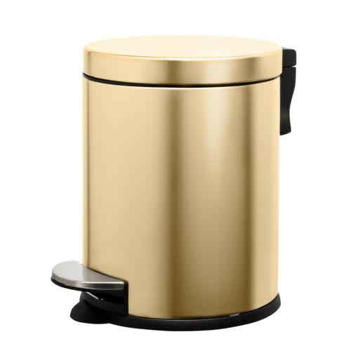 SPRINGOS Mülleimer Abfalleimer Papierkorb Edelstahl Treteimer Gold Schwarz 5L