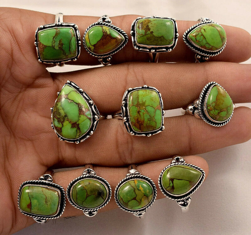 100 Pcs. New Lot Natural Green Copper Turquoise 925 Silver Plated Rings Jewelry