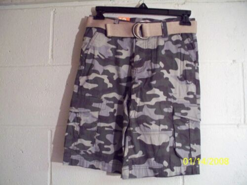 Joe Fresh Gray Grey CAMO Cargo Boys Shorts Adj Waist w Belt FREE Shpg NWTA