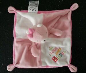 NEUF-doudou-plat-ours-chat-rose-des-tous-petits-bisous-MOTS-D-039-ENFANTS