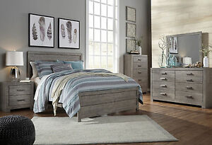 Details about NEW 5 piece Modern Rustic Gray Bedroom Set Furniture w/ King  Size Panel Bed IA21