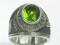 United States Marine Military August Peridot Stainless Steel Men Ring Size 8