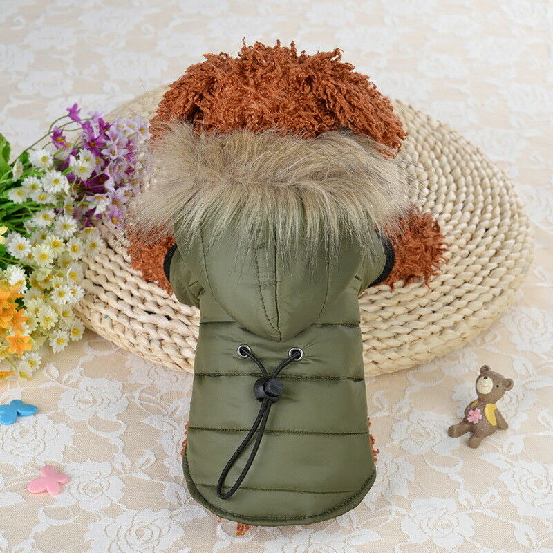 Pet Small Dog Puppy Warm Coat Jacket Hoodie Thick Apparel Outwear Clothes XS-XL 4