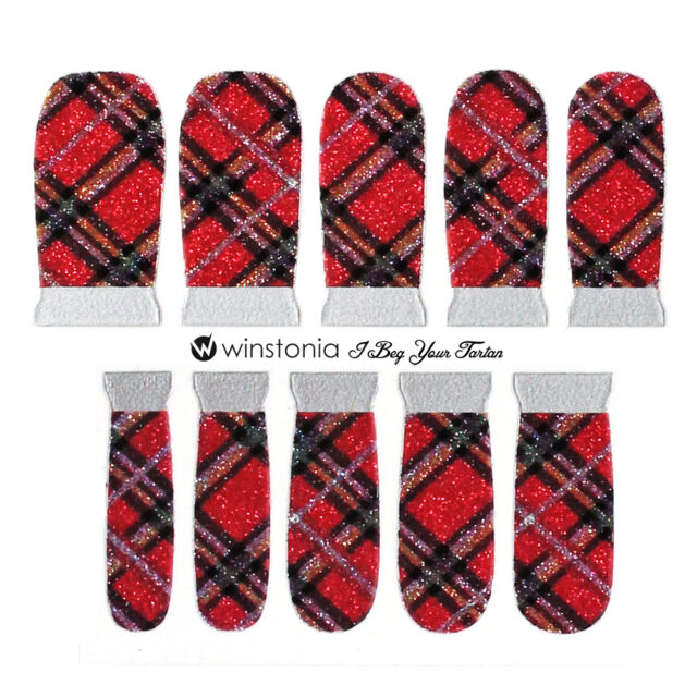 Winstonia Fall Autumn Cozy Plaid Nail Wrap Stickers Vinyl Strip Manicure Chic US