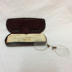 VTG-Eyeglasses-Reading-Glasses-Goldtone-Metal-Broken-Clarence-J-Oerter-Albany