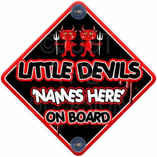 NEW BLACK /& RED for  LITTLE DEVILS  Baby on Board Car Window Sign HALLOWEEN
