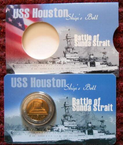 USS Houston Battle of Sundra Straits 2002 Five Dollar $5 coin carded