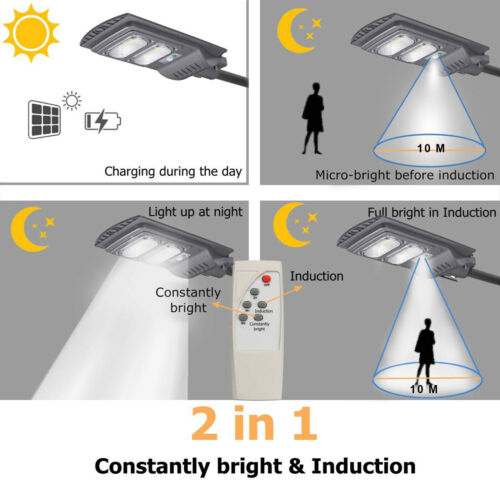 936W 720W LED Solar Powered Street Light Garden Dusk-to-Dawn Wall Lamp Remote