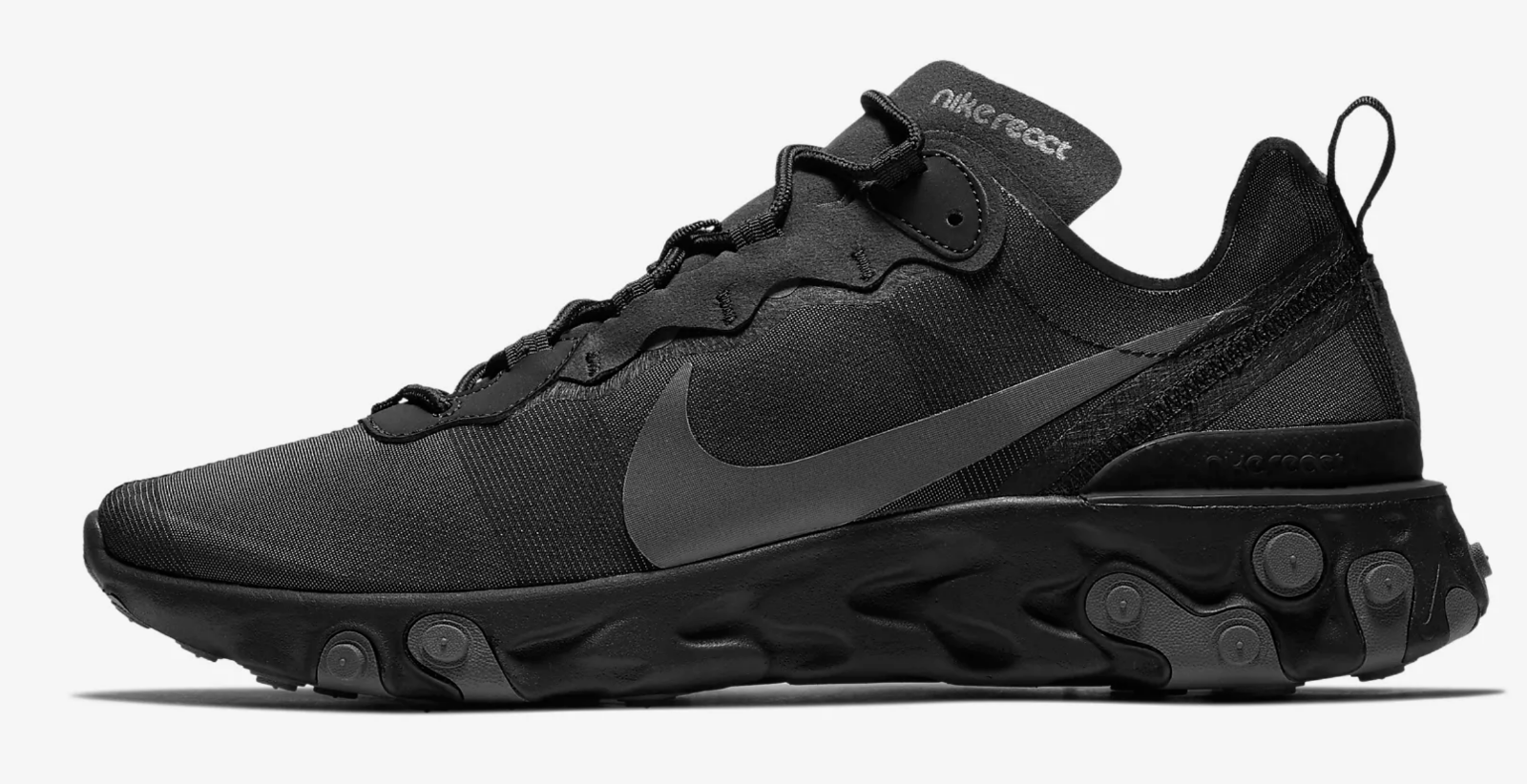 Nike React Element 55   Black Dark Grey  Men's shoes Limited Stock UK 14