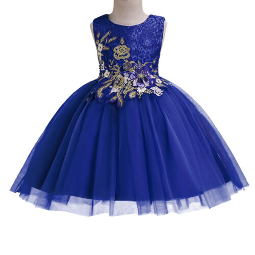 Flower Girl Dress Lace for Kid Wedding Bridesmaid Birthday Tutu Gown Dresses