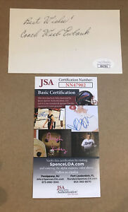 WEEB EWBANK SIGNED 3 x 5 INDEX CARD AUTOGRAPHED NFL HOF JSA CERTIFIED AUTOGRAPH
