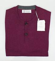 Brunello Cucinelli Purple Cotton Knit Henley Sweater Size 50/40/medium $795 on sale