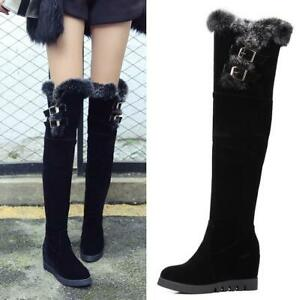 Womens-Round-Toe-Wedge-Heel-Over-Knee-High-Thigh-Boots-Fur-Trim-Top-Casual-Shoes