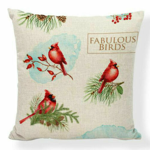 Red Farm Christmas Tree Linen Throw Pillow Case Truck Happy Camper Cushion Cover